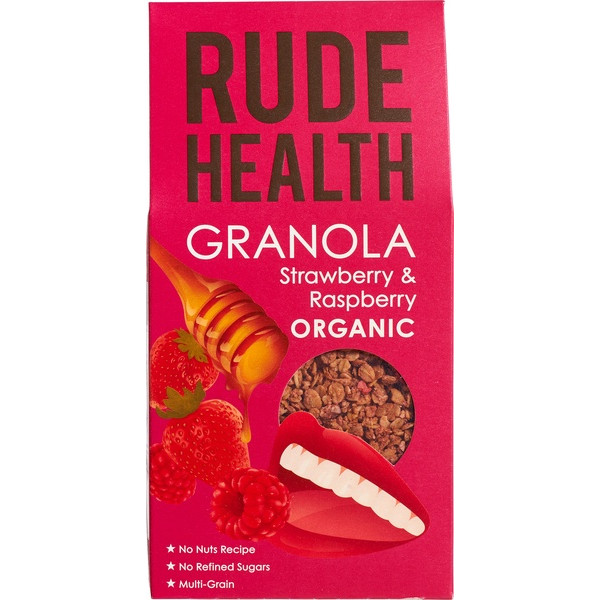 Granola, Strawberry & Raspberry, Rude Health, 450g Cereal, Baking, Superfoods